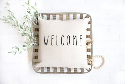 "Welcome - Hand Lettered Square Pillow Cover | Natural Linen Color | 18""x18"" - Beyond Measure Living"