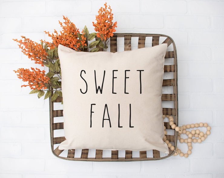 "Sweet Fall - Hand Lettered Square Pillow Cover | Natural Linen Color | 18""x18"" - Beyond Measure Living"