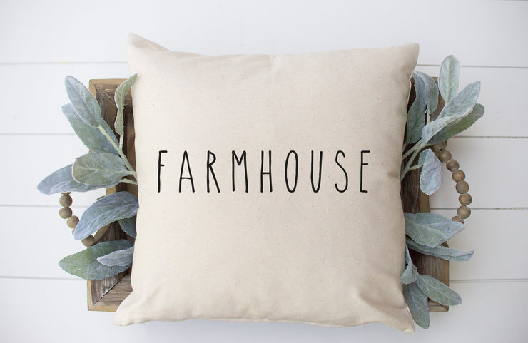 "Farmhouse- Hand Lettered Square Pillow Cover | Natural Linen Color | 18""x18"" - Beyond Measure Living"