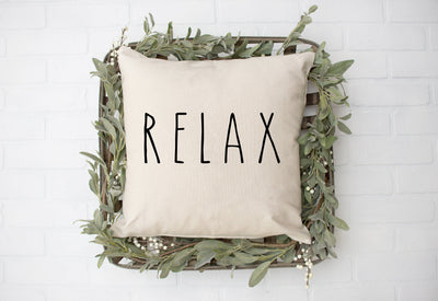 "Relax - Hand Lettered Square Pillow Cover | Natural Linen Color | 18""x18"" - Beyond Measure Living"