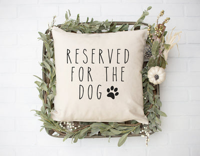 "Reserved For The Dog - Hand Lettered Square Pillow Cover | Natural Linen Color | 18""x18"" - Beyond Measure Living"