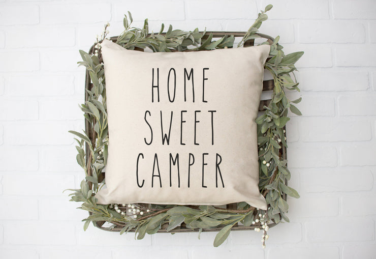 "Home Sweet Camper - Hand Lettered Square Pillow Cover | Natural Linen Color | 18""x18"" - Beyond Measure Living"