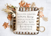 "Falling Leaves, Autumn Breeze - Hand Lettered Square Pillow Cover | Natural Linen Color | 18""x18"" - Beyond Measure Living"