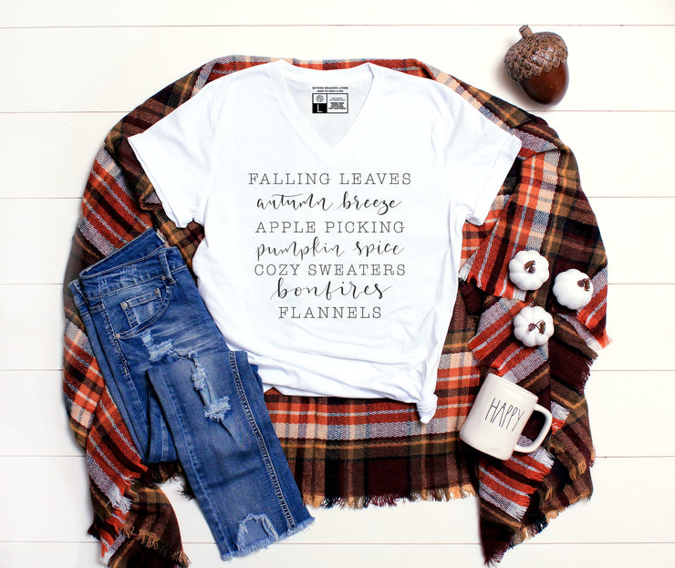 Falling Leaves, Autumn Breeze | Cute Fall T-Shirt | V-Neck or Crew Neck | Luxury Soft Unisex Fit - Beyond Measure Living