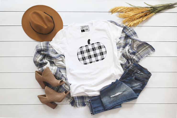 Plaid Pumpkin | Cute Fall T-Shirt | V-Neck or Crew Neck | Luxury Soft Unisex Fit - Beyond Measure Living