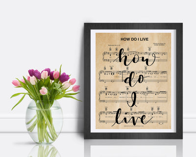How Do I Live Sheet Music | Lettered By Hand | 5x7, 8x10, or 11x14 | Unframed - Single Sheet | Choice of Aged or White Paper - Beyond Measure Living