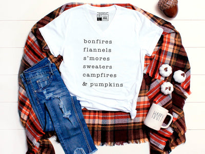 Bonfire, Flannels, S'mores  | Cute Fall T-Shirt | V-Neck or Crew Neck | Luxury Soft Unisex Fit - Beyond Measure Living