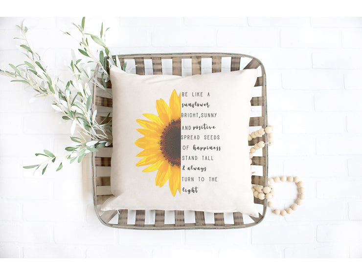 "Be like a Sunflower - Hand Lettered Square Pillow Cover | Natural Linen Color | 18""x18"" - Beyond Measure Living"