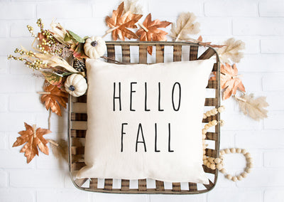 "Hello Fall - Hand Lettered Square Pillow Cover | Natural Linen Color | 18""x18"" - Beyond Measure Living"