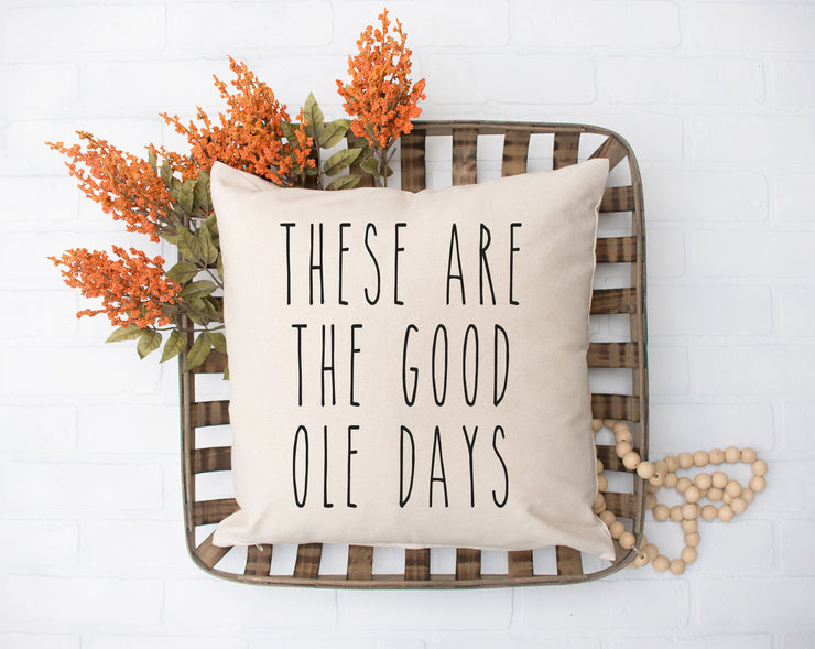 "These Are The Good Ole Days - Hand Lettered Square Pillow Cover | Natural Linen Color | 18""x18"" - Beyond Measure Living"