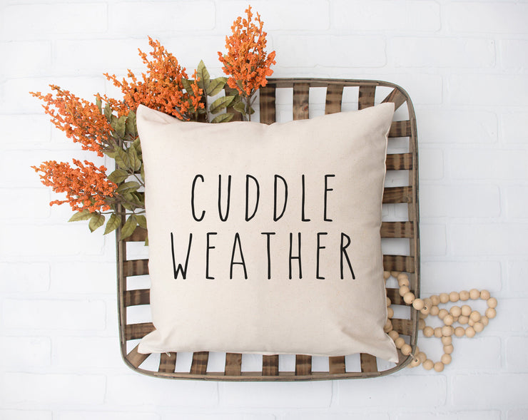 "Cuddle Weather - Hand Lettered Square Pillow Cover | Natural Linen Color | 18""x18"" - Beyond Measure Living"