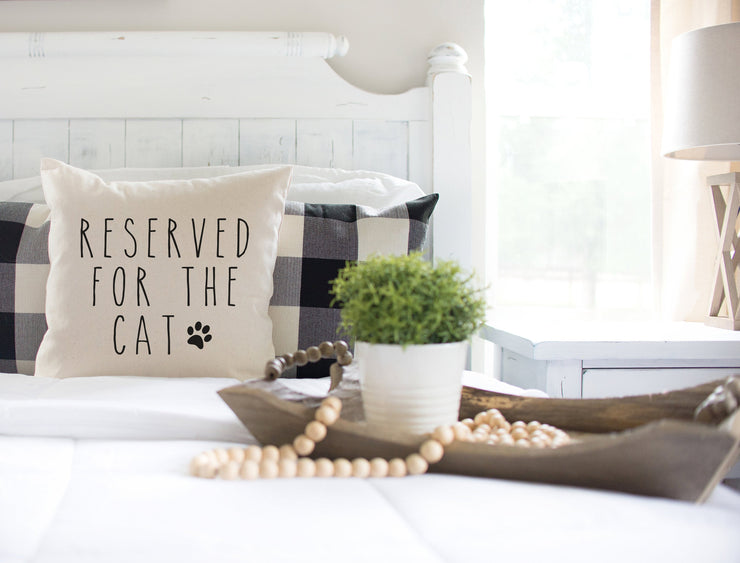 "Reserved For The Cat - Hand Lettered Square Pillow Cover | Natural Linen Color | 18""x18"" - Beyond Measure Living"