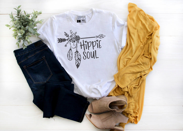 Hippie Soul | Cute Fall T-Shirt | V-Neck or Crew Neck | Luxury Soft Unisex Fit - Beyond Measure Living