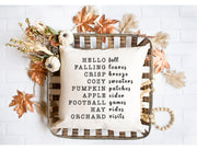 "Hello Fall, Falling Leaves - Hand Lettered Square Pillow Cover | Natural Linen Color | 18""x18"" - Beyond Measure Living"