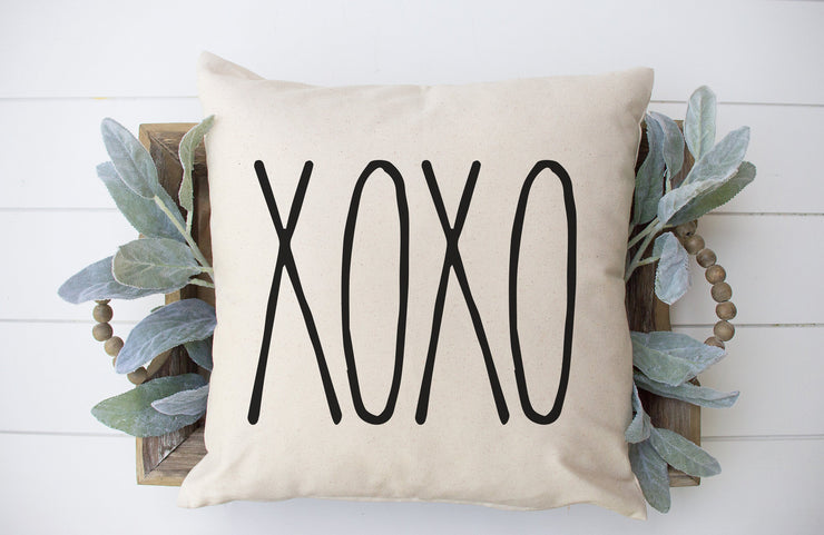 "XOXO - Square Pillow Cover | Natural Linen Color | 18""x18"" - Beyond Measure Living"