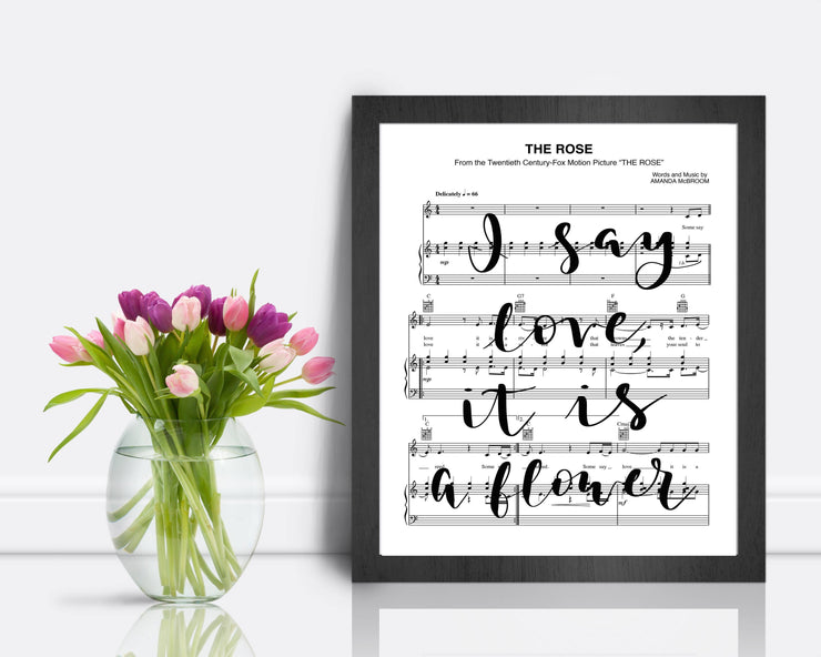 The Rose - Hand Lettered Sheet Music | 5x7, 8x10, or 11x14 | Unframed - Single Sheet | Aged or Modern White Archival Paper - Beyond Measure Living