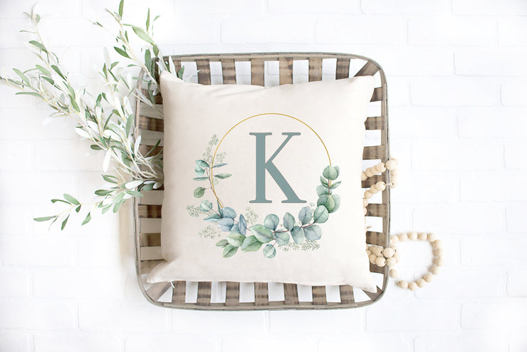 "Floral Watercolor Family Initial Pillow  - Hand Lettered Square Pillow Cover | Natural Linen Color | 18""x18"" - Beyond Measure Living"