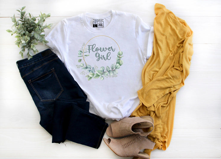 Flower Girl  Floral Wreath White T-Shirt - Beyond Measure Living
