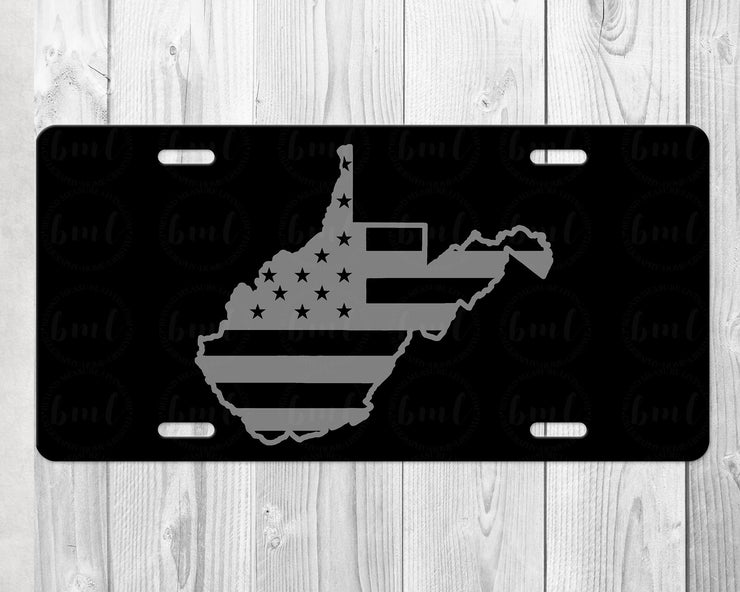West Virginia State License Plate | Hand Lettered Calligraphy Art - Black Plate with Silver/Gray Lettering - Made in West Virginia - Beyond Measure Living