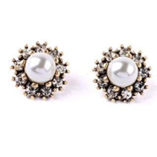 Silver Clustered Stud Earrings