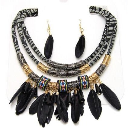 Laide Feather Tip Coil Necklace and Earrings