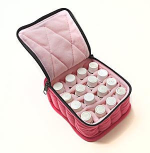 16 Bottle Essential Oil Carrying Cases Hold 5ml, 10ml And 15ml Bottles   Fuschia With Soft Pink Inte
