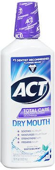 Act Total Care Anticavity Fluoride Rinse Dry Mouth Soothing Mint - 18 oz, Pack of 5