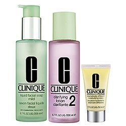 Clinique 3 Step Deluxe Set: Ddml 1 Oz / 30 Ml + Liquid Facial Soap 6.7 Oz / 200 Ml + Clarifying Loti