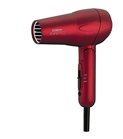 Conair Mini Pro Tourmaline Ceramic Hair Dryer With Folding Handle, Travel Hair Dryer, Red