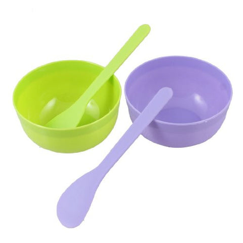Uxcell Women Diy Facial Beauty Care Green Purple Plastic Mask Bowl Mixing Stick 2 Sets