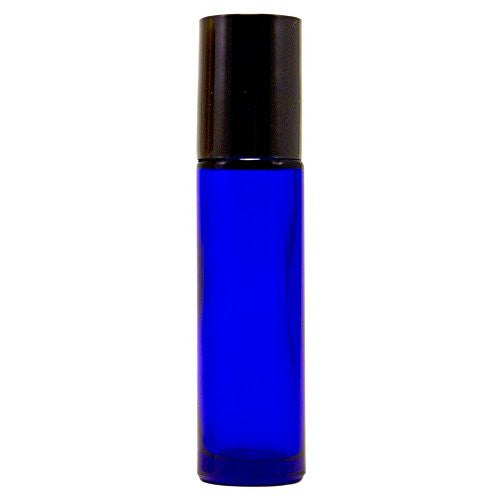 Green Health   10ml Cobalt Blue Glass Roll On Bottles (Pack Of 24), + 5ml Greenhealth Peppermint Oil