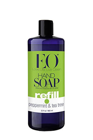 Eo Hand Soap, Refill Size, Peppermint & Tea Tree, 32 Ounce Bottles (Pack Of 2)
