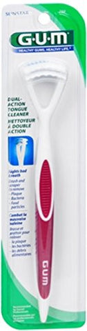 Gum Dual Action Tongue Cleaner   Colors May Vary 1 Each (Pack Of 4)