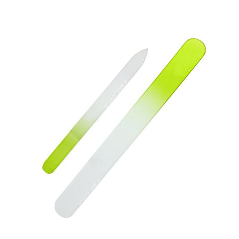 Lime Green Premium Crystal Glass Nail File Set Of 2 (Includes 1 Medium And 1 Large Nail File) Salon