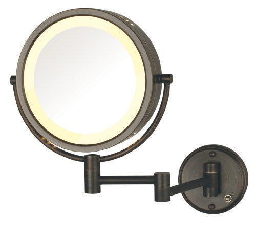 Jerdon Hl75 Bzd 8.5 Inch Lighted Direct Wire Wall Mount Makeup Mirror With 8x Magnification, Bronze