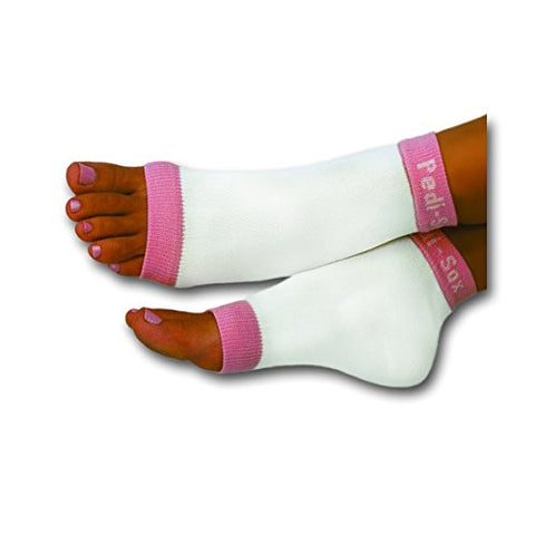 Original Pedi Sox Brand Open Toe Socks : California Lite : Watermelon Pink Trim 1 Pair