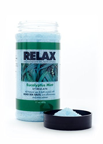 Eucalyptus Mint Aromatherapy Bath Salts  17 Oz– Natural Minerals For Soaking Aches, Pains & Stress R