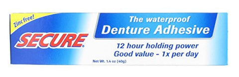Secure Waterproof Denture Adhesive   Zinc Free   Extra Strong Hold For Upper, Lower Or Partials   1.