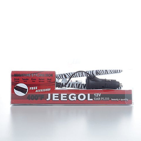 Jeegol Mini 0.5 12 V Tourmaline Ionic Travel Hair Straightener  Zebra Jeegol Mini 0.5 12 V Tourmaline