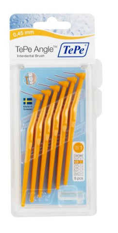 Tepe Angle Interdental Brushes Between Teeth   Braces Tooth Brush Cleaner 6 Pk, Orange