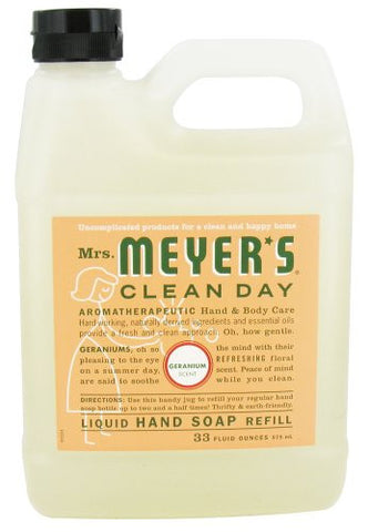 Mrs. Meyer's: Liquid Hand Soap Refill Jug Geranium, 33 Oz