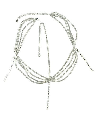 Women's Bohemian Fashion Head Chain Jewelry   3 Draping Chain Strand With Long Rhinestone Strand, Si