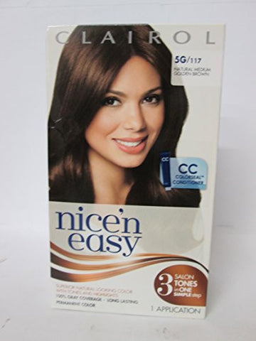 Clairol Nice 'N Easy [5 G] Medium Golden Brown Permanent Hair Color 1 Ea (Pack Of 2)
