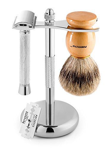Perfecto Deluxe Shaving Kit, 100% Badger Shaving Brush, Chrome Razor And Brush Stand And Chrome Doub