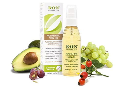 B.O.N Skincare Nourishing Body And Facial Oil   All Natural Blend Of Grape Seed, Rosehip Seed And Av