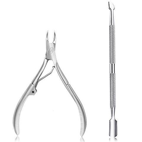 Hand Filed Cuticle Nipper With Cuticle Pusher Professional Grade Stainless Steel Cuticle Remover & C