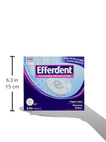 Efferdent Anti Bacterial Denture Cleanser, 2 Pack