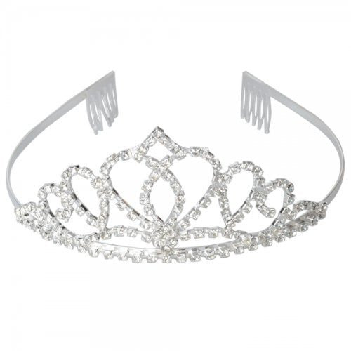 Usa Seller Follsy Peach Heart Flower Shape Tiara Crown Headband Comb Pin Shining Rhinestone Wedding