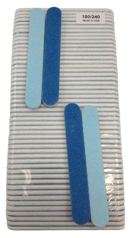 Iridesi Professional Mini Blue Finger Nail Files 120/240 Washable Emery Boards 3 1/2 Inches Long 50