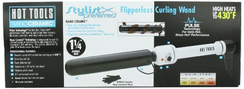 Hot Tools Professional Nano Ceramic Flipperless Curling Wand For Shiny Curls